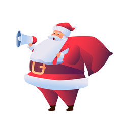cartoon santa claus with megaphone and sack vector image