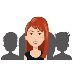 Cartoon woman and silhouette person choose human vector