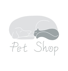 Cat and dog are sleeping sign for pet shop logo vector