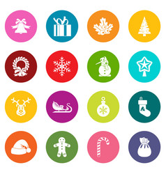 christmas icons many colors set vector image