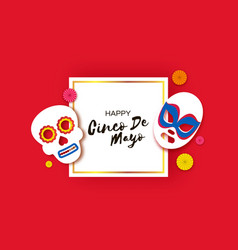 Cinco de mayo banner with skull and luchador mask vector