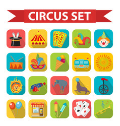 Circus icon set flat cartoon style set isolated vector