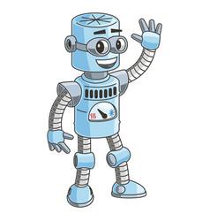 color cartoon cute friendly robot waving hello vector image