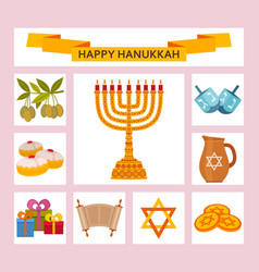 Color hanukkah icons with torah menorah and vector