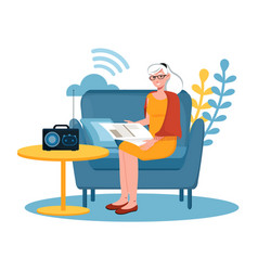 Concept listening to music on radio vector