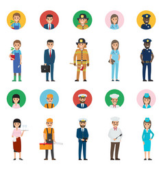 Concept professions full-length and round icon vector