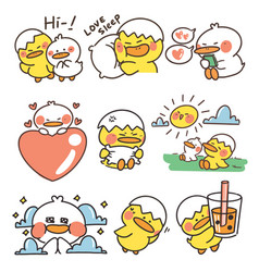 Cute baby ducklings doodle sticker collection set vector