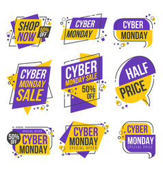 cyber monday shopping day origami banner label vector image