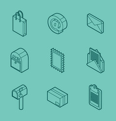 Delivery outline isometric set vector