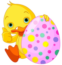 Easter Duckling gives thumbs up vector