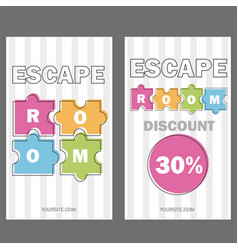 escape room poster banner on vector image