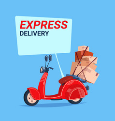 Express delivery service icon retro motor bike vector