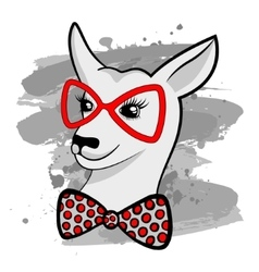 Fashion Portrait of Hipster kangaroo with red vector image