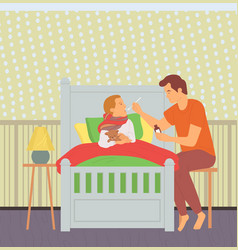 Father caring for sick child daddy and son in room vector