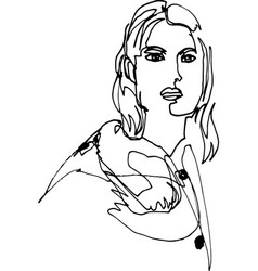 female shoulder portrait with one line vector image
