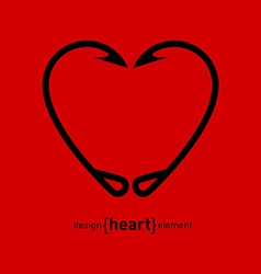 Fishing Hook heart vector image