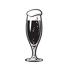 flute style beer glass hand drawn vector image