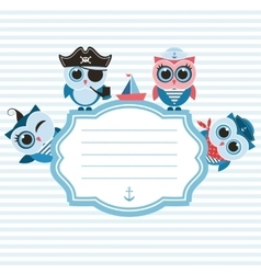Frame with sailor owls vector