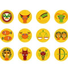 Funny orange zodiac sign icon set astrological vec vector image