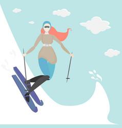 Ginger young woman do ski vector
