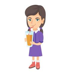 girl drinking orange juice through a straw vector image