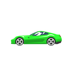 Green sports racing car supercar side view vector