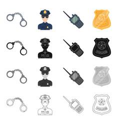 Handcuffs policeman in uniform walkie-talkie vector