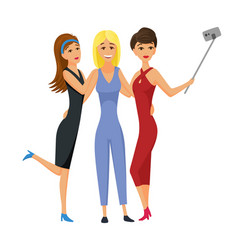 happy smiling young women friends taking selfie vector image