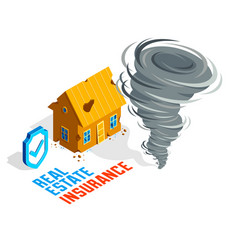 House and tornado real estate insurance concept vector