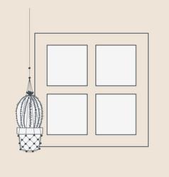houseplant in macrame hanger with window vector image