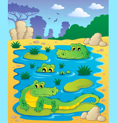 Image with crocodile theme 2 vector