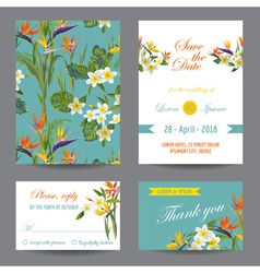 Invitation or Greeting Card Set - Tropical Flowers vector image