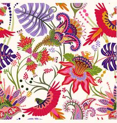 Jacobean seamless pattern flowers background vector