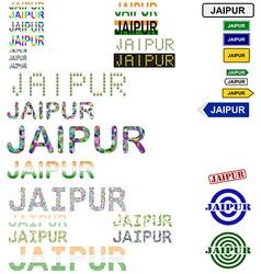 Jaipur text design set vector