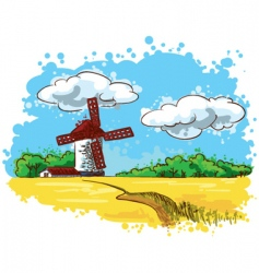 landscape with mill vector image