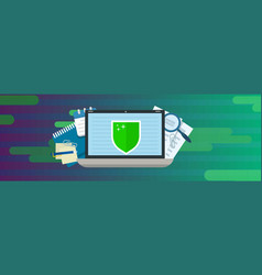 laptop data protection banner horizontal flat vector image