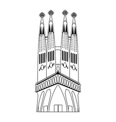 Line sagrada familia in barcelona sky tower vector