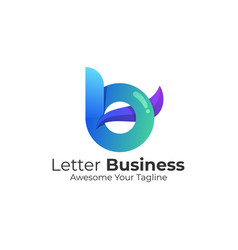 logo abstract letter b gradient colorful vector image