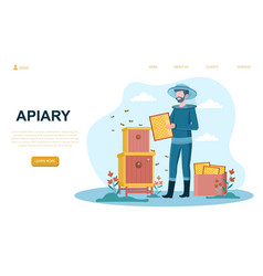 male beekeeper at apiary vector image