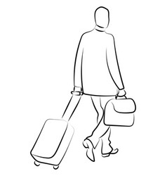 man with a suitccase on white background vector image