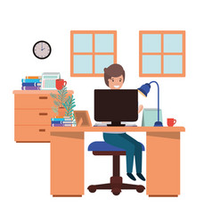 Man working in office avatar character vector