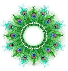 Mandala of Green Peacock Feathers vector