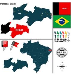 Map of Paraiba vector image