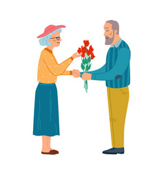 mature couple in love man gives flowers to woman vector image