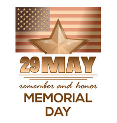 memorial day 2017 29 may remember and honor vector image
