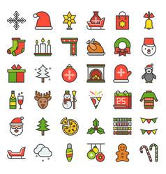 merry christmas theme set such as snowman santa vector image