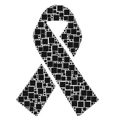 Mourning ribbon composition of squares and circles vector