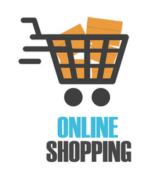 online shopping chart design white background vect vector image