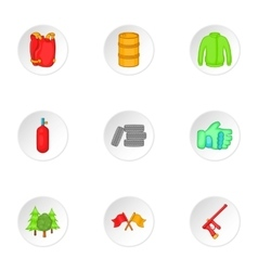 Outfit paintball icons set cartoon style vector