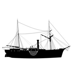 Paddle steamship vector